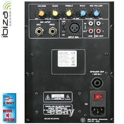 Ibiza Sound DISCO15AMP Active PA 15 Speaker 900W Sound System 3 Way Disco DJ