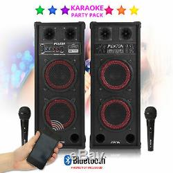 Karaoke PA System Bluetooth Disco Party Speakers with Microphones MP3 Cable
