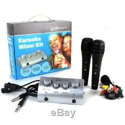 Karaoke PA System Bluetooth Disco Party Speakers with Mixer and Microphones