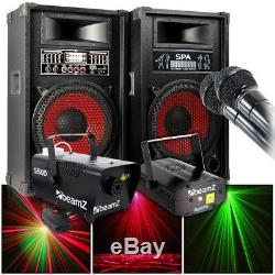 Loud Amplified Speakers Firefly Effect Laser Light Smoke Machine Dj Disco Pack