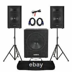 Mobile DJ Speakers PA Amplifier Mixer Stands Band Disco Kit Set 1400W 12