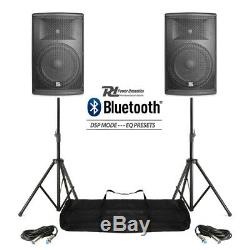 Pair Active DJ Speakers PA Pro Bi-Amp Disco System Bluetooth 12 2800W + STANDS
