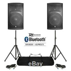 Pair Active DJ Speakers PA Pro Bi-Amp Disco System Bluetooth 15 2800W + STANDS