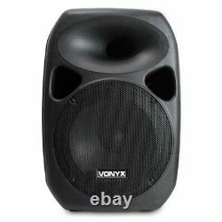 Pair Active Passive PA System Speakers + Stands 12 Woofer 700W DJ Disco Party