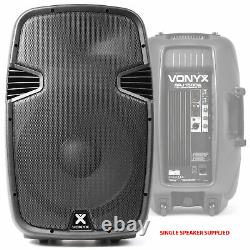 Pair Active Powered 15 Inch DJ Disco PA Speaker System Vonyx SPJ1500A 1600W Max