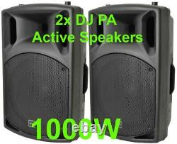 Pair DJ 15 Inch ABS Active PA Speakers Disco Party Sound System 1000W