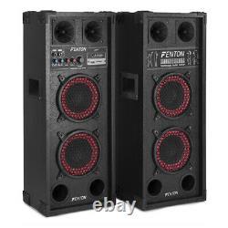 Pair Double 6.5 Bluetooth Active Speakers SD USB DJ Disco PA Party Karaoke 600W