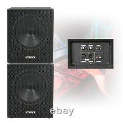 Pair Skytec 18 Active Powered Subwoofers Bass Bins DJ PA Disco Speakers 2000W