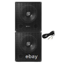 Pair Skytec SMWBA15 15 Inch Active Powered DJ Disco Party Subwoofers Subs 1200W