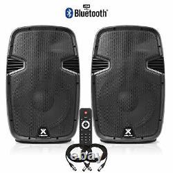 Pair Vonyx 12 Bluetooth Active Powered Speaker MP3 USB DJ PA Disco Party 1200W