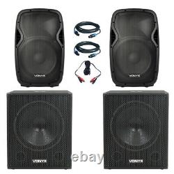 Pair Vonyx 12 Speakers Vonyx 18 Active Powered DJ Disco Party Subs 3200W