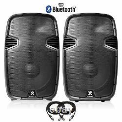 Pair Vonyx 15 Bluetooth Active Powered Speaker MP3 USB DJ PA Disco Party 1600W
