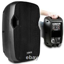 Pair Vonyx AP800A Active Powered 8 Home Disco Party Speakers with Folding Stands