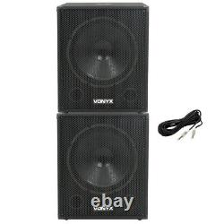 Pair Vonyx SMWBA18 18 Inch Active Powered DJ Disco Party Subwoofers Subs 2000W