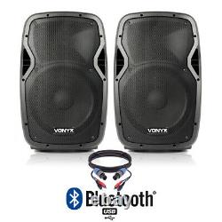 Pair of Active 12 DJ Disco Speakers Bluetooth PA System 1200w Powered
