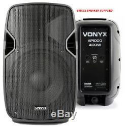 Pair of Active Powered 10 Bluetooth DJ PA Disco Speakers with Cables 800 Watts