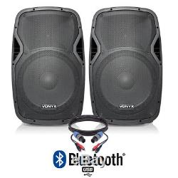 Pair of Active Powered 15 Bluetooth DJ PA Disco Speakers with Cables 1600 Watts