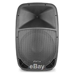 Pair of FTB 15 Inch Active DJ PA Disco Speakers 700 Watt Power with Cables