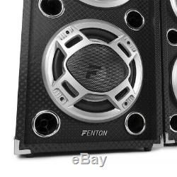Pair of Fenton Dual 8 Bluetooth PA Active Speakers LED Karaoke DJ Disco Party
