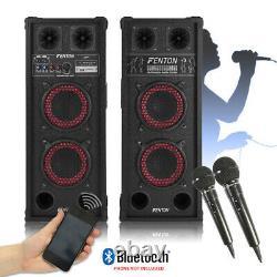 Pair of Home Karaoke Bluetooth Disco Speakers with Handheld Microphones 600W