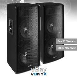 Pair of Passive PA Speaker 2 Way Bass Reflex DJ Disco System Dual 12 2400w