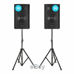 Pair of Vonyx 10 Passive DJ PA Speakers with Stands 1000W Mobile Disco Set