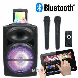 Portable PA Speaker 12 Bluetooth MP3 Disco Lights 2 Wireless Microphones 300W