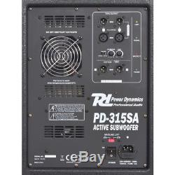 Power Dynamics 15 Inch Active Subwoofer Bass Bin Speaker DJ Disco Party 800W