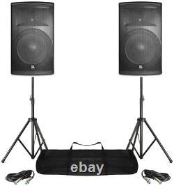 Power Dynamics Pair Active Dj Speakers Pa Pro Bi-Amp Disco System Bluetooth 15