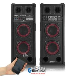 Powered Bluetooth Disco Speakers with Karaoke Microphones Mixer and Party Light