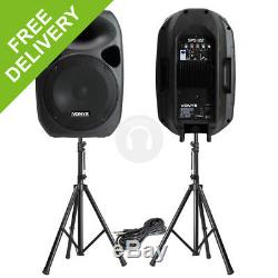 Powerful 12 Active Disco Pa Speakers Mobile Dj Portable Sound System Stands
