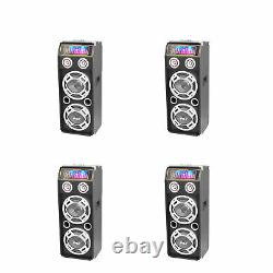 Pyle PSUFM1035A Disco Jam 1000 Watt 2 Way DJ Bluetooth LED Speaker (4 Pack)