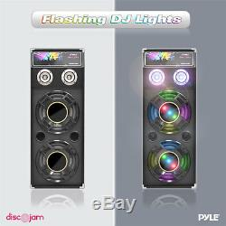 Pyle PSUFM1245A 1400 Watt Disco Jam Powered Two Way PA Speaker System w USB/SD