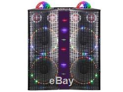 QFX SBX-410402 4 x 10 PA Speaker +Bluetooth +USB/SD/FM/EQ/LED +Disco Balls