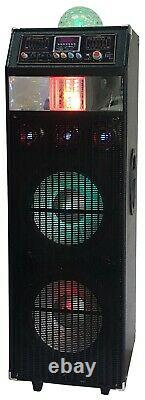 QFX SBX-412216 Dual 12-in PA Speaker with Built-in Fog Machine and Disco Light