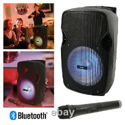 QTX PAL10 Portable Bluetooth PA Speaker Home Karaoke System & LED Disco Light