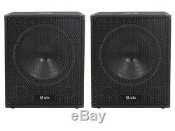 QTX QT18SA 18 2000W Active Powered Subwoofer Bass Bin Speaker DJ Disco Package