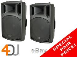 QTX QX15A Active 15 Inch 250W RMS DJ Disco Moulded PA Loudspeakers (Pair)