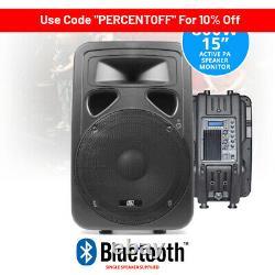 SP1500ABT 15 Inch Active Bluetooth Speaker Home DJ Disco PA Monitor EQ 800W