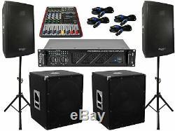 The Pa Set 52 Dj 3Wege 30 cm Speakers Tripod 38 Subwoofer Musician 3000W Active