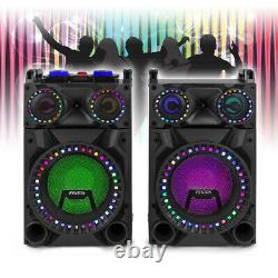 VS12 Active Powered Bluetooth Speakers DJ Disco Party Set with LED Lights 1200W