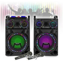 VS-12 Powered Bluetooth Disco Speakers Karaoke Party DJ Lights with Microphones
