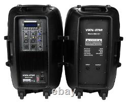 Vocal-Star PA Active 12 Speakers System Bluetooth MP3 1000W Inc Stands DJ Disco