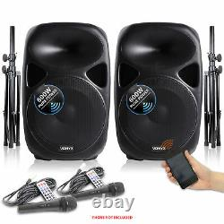Vonyx 15 Inch Active Powered PA Sound System Speakers Mics Stands 1200W DJ Disco