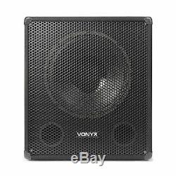 Vonyx 15 Powered Active Subwoofer Bass Boost Bin DJ Disco PA Sub Speaker 600W