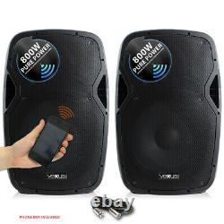 Vonyx Active Powered DJ Disco PA Speakers Wireless Bluetooth 15 1600W SSC2664