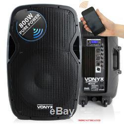 Vonyx Active Powered DJ Disco PA Speakers Wireless Bluetooth 15 1600W UK Stock
