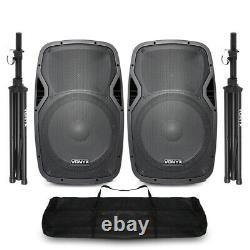 Vonyx Active Powered DJ Disco PA Speakers Wireless Bluetooth 15 Stands 1600W