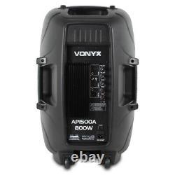 Vonyx Active Self Powered PA Speaker AP1500A 15 (Single) DJ Disco Party 800W