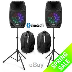 Vonyx FT15A 15 Active Bluetooth Disco Speakers DJ PA System wth Stands & Bags